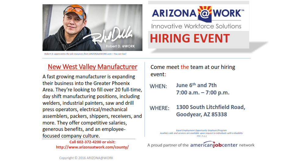 New West Valley Manufacturer Hiring Event