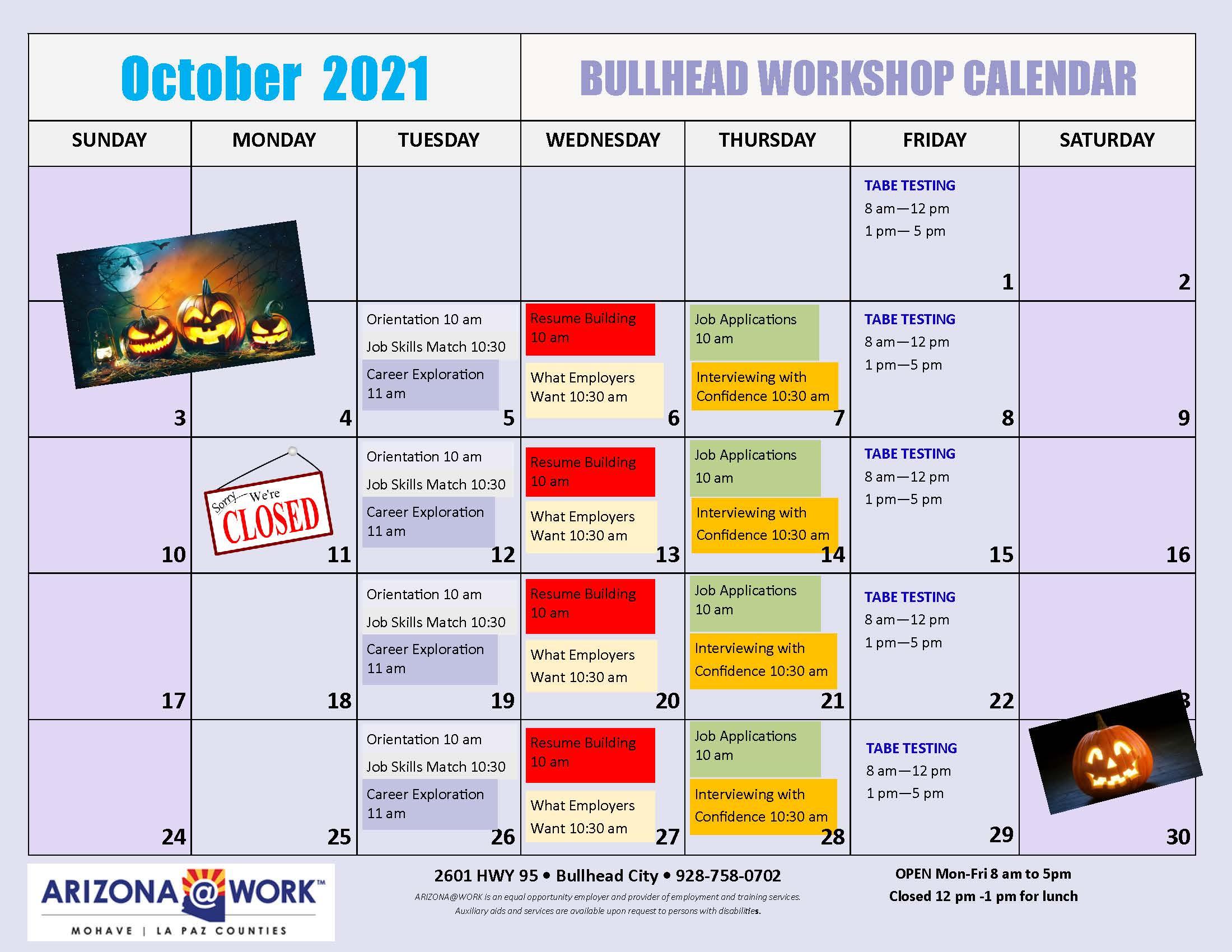 2021 Calendar - Oct 2021