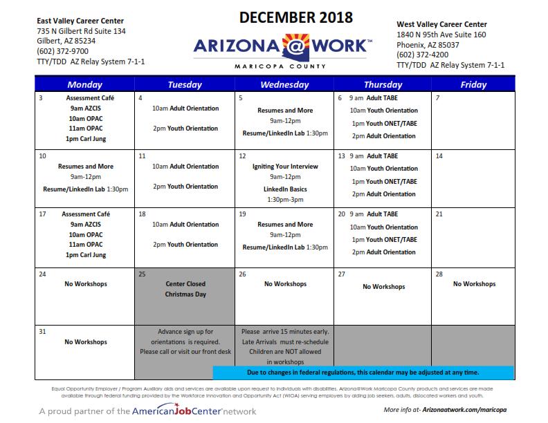 Maricopa County Smart Justice Calendar December 2018
