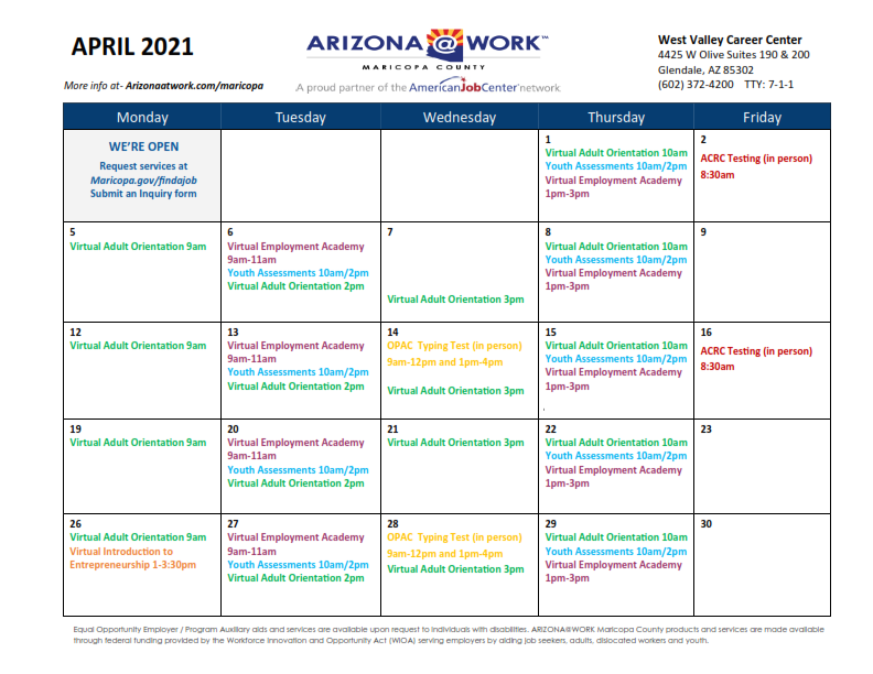 Maricopa County West Valley Center Calendar April 2021