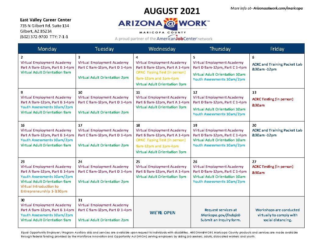 Maricopa County East Valley Center Calendar August 2021