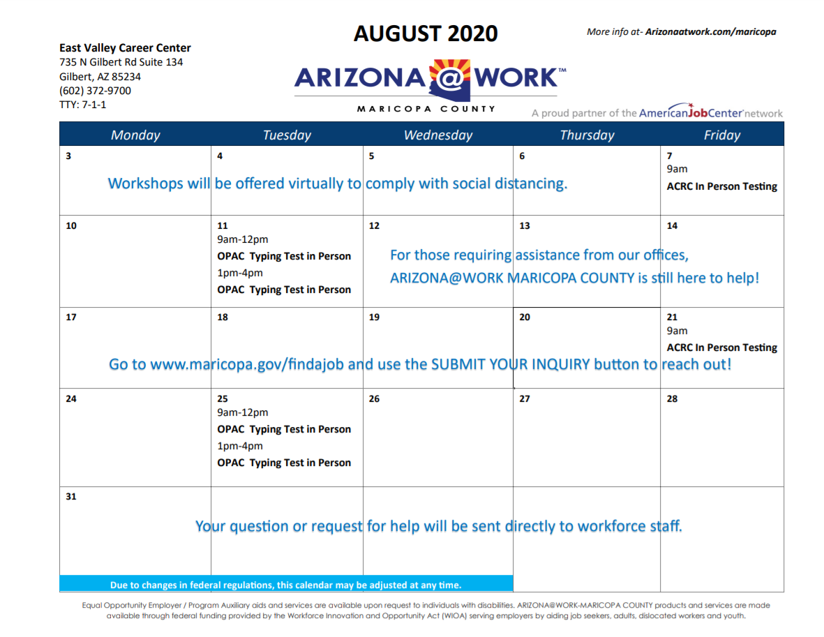 Maricopa County East Valley Center Calendar August 2020