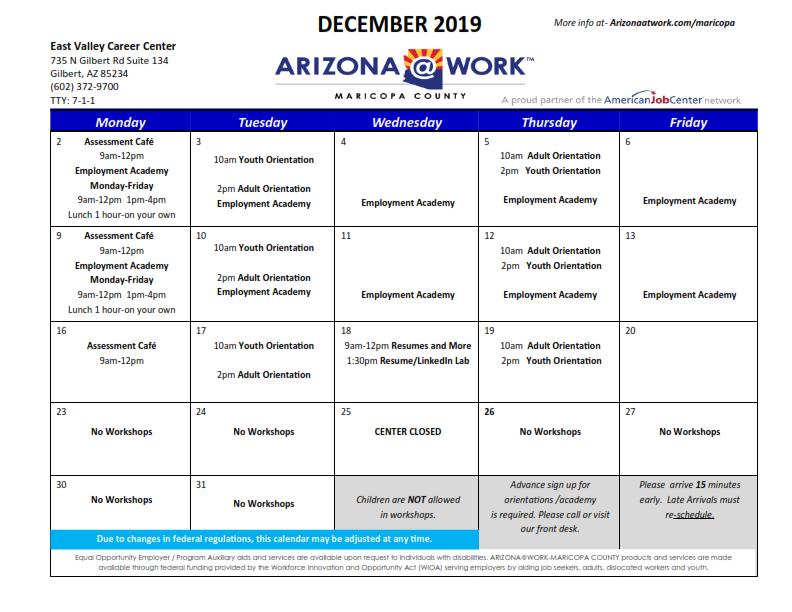 Maricopa County East Valley Center Calendar December 2019