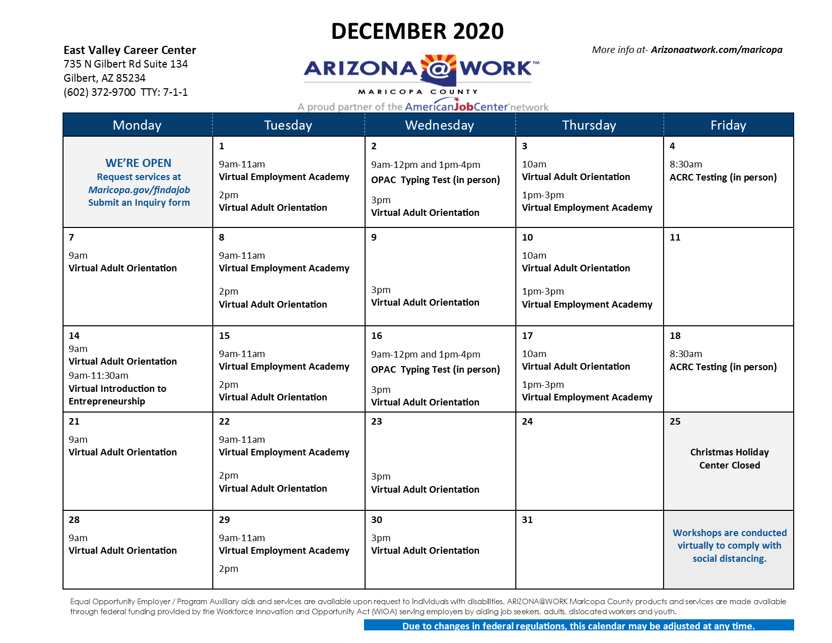 Maricopa County East Valley Center Calendar December 2020