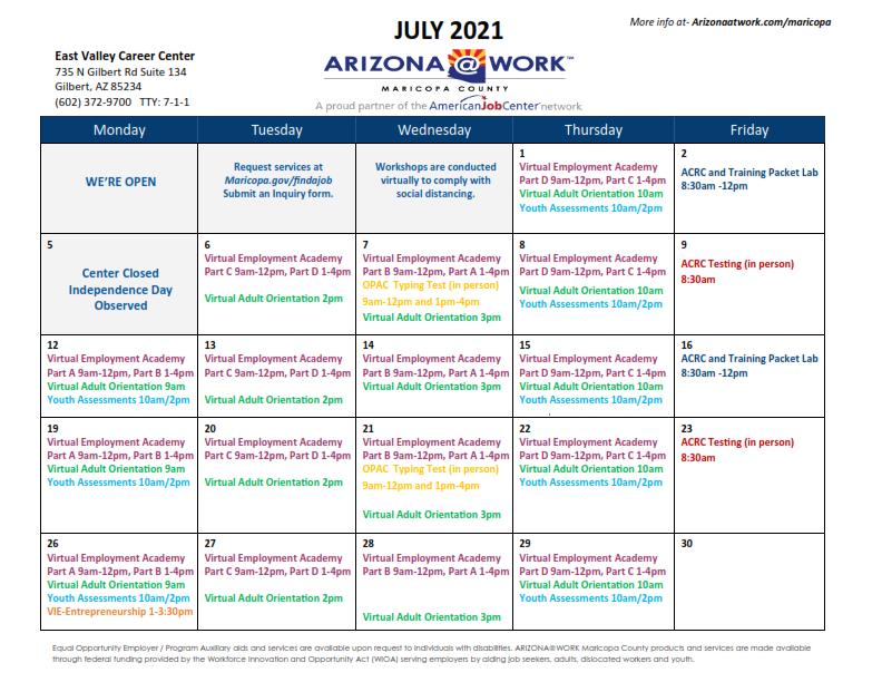 Maricopa County East Valley Center Calendar July 2021