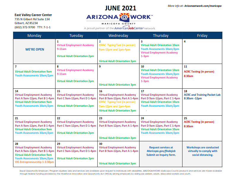 Maricopa County East Valley Center Calendar June 2021