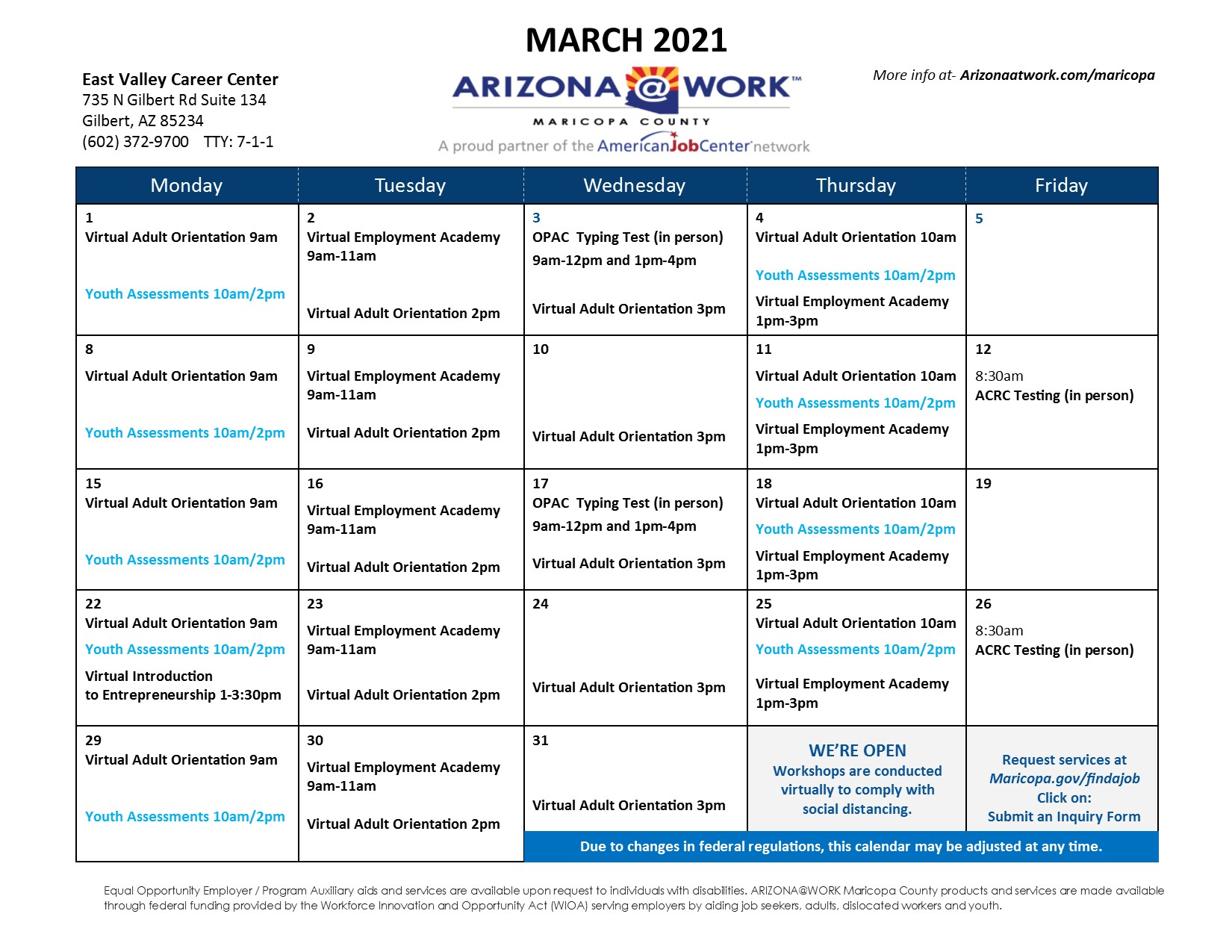 Maricopa County East Valley Center Calendar March 2021