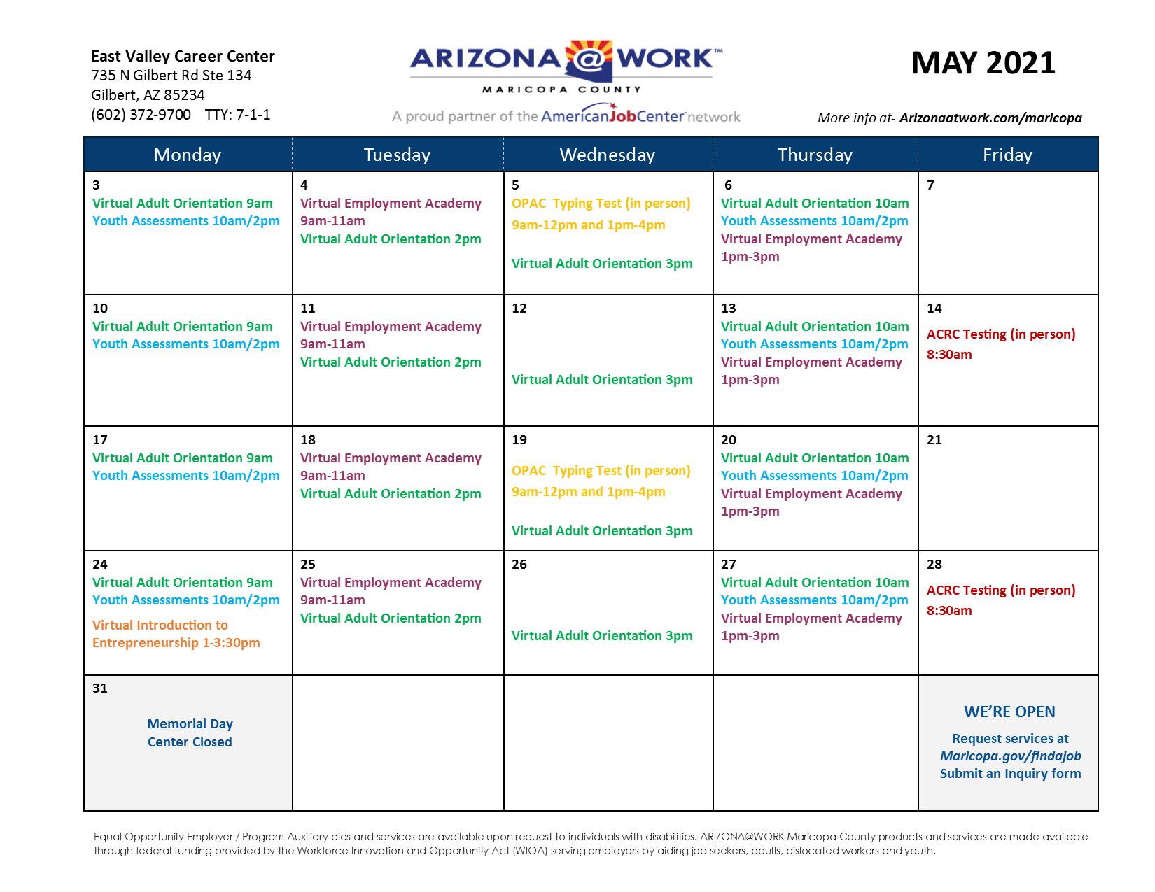 Maricopa County East Valley Center Calendar May 2021