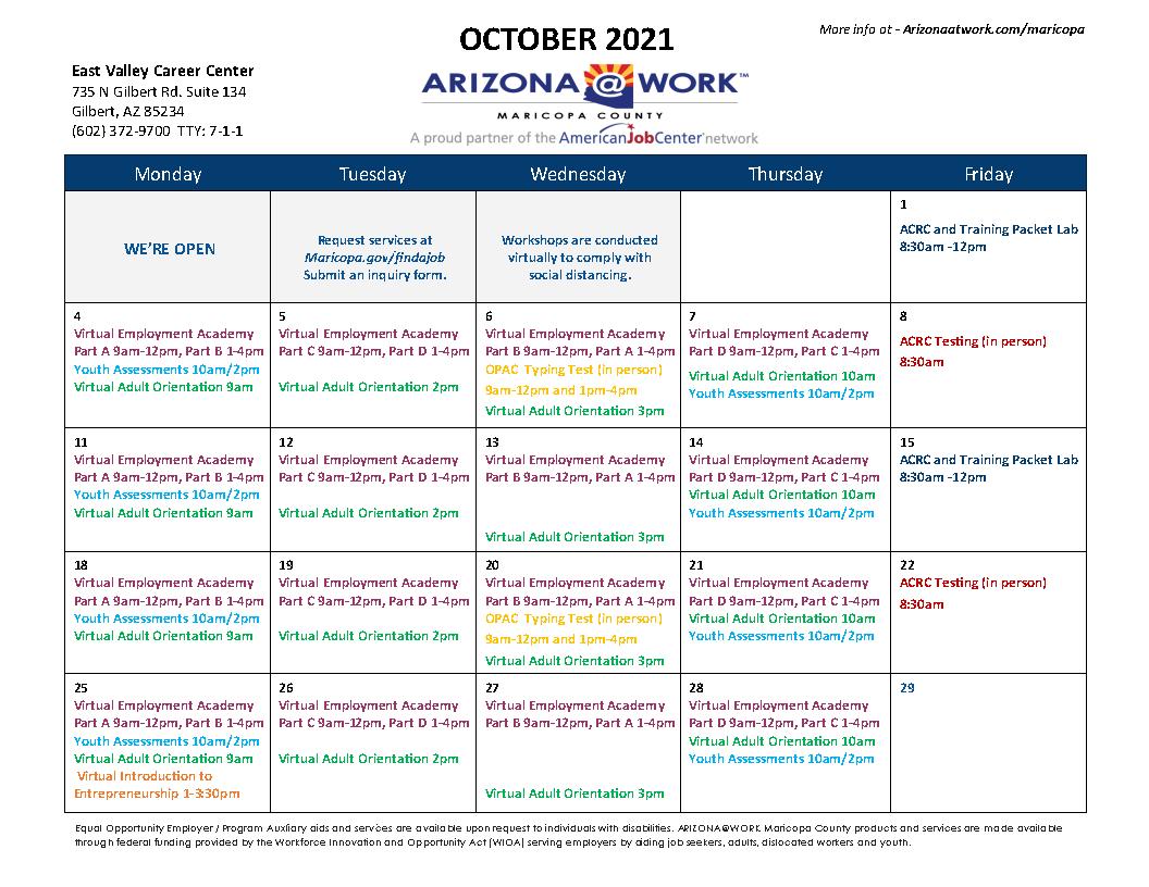 Maricopa County East Valley Center Calendar October 2021