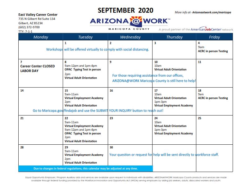 Maricopa County East Valley Center Calendar September 2020
