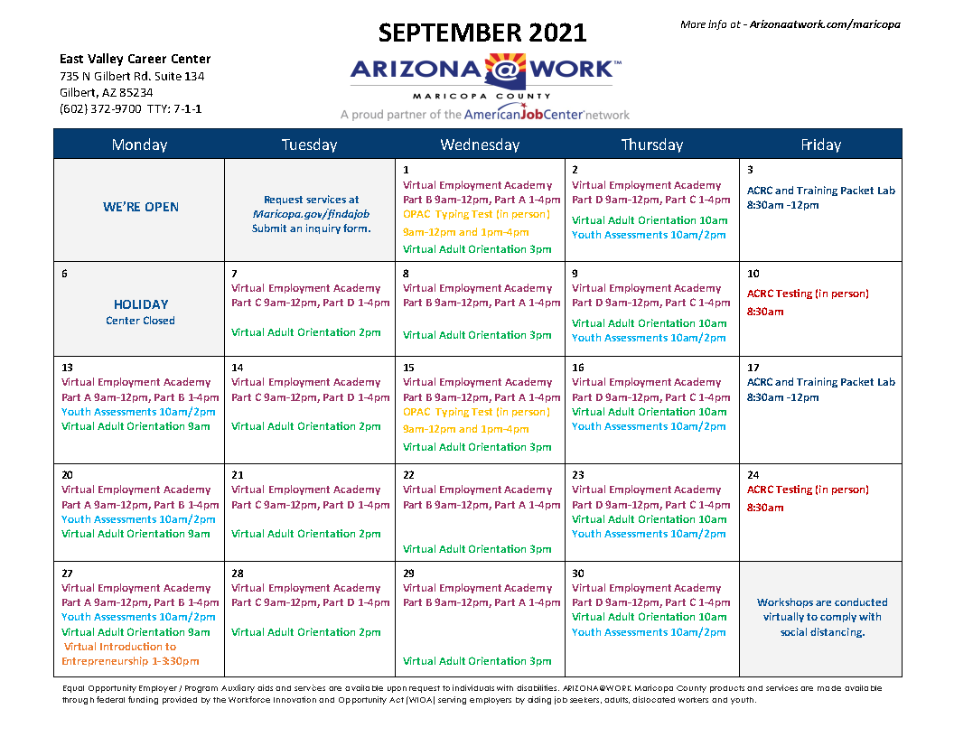 Maricopa County East Valley Center Calendar September 2021