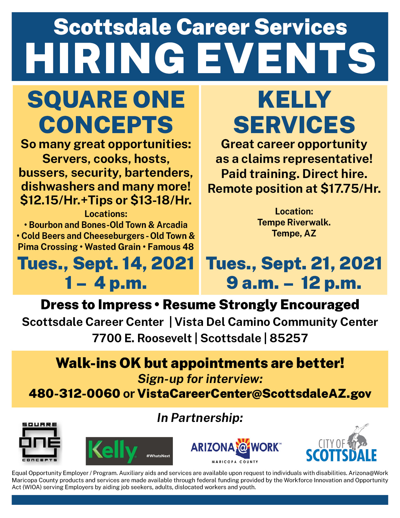 Square One Concepts Hiring Event