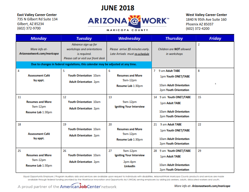 Maricopa County June 2018 Center Calendar