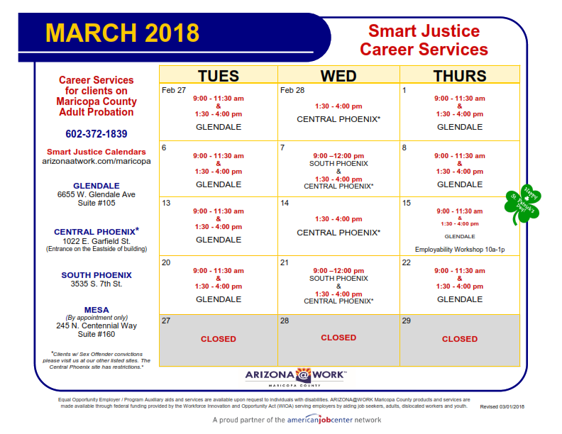 Maricopa County Smart Justice March 2018 Calendar - Printable Version