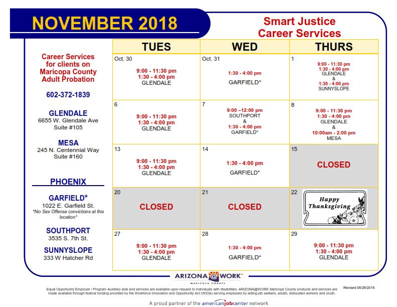 Maricopa County Smart Justice Calendar November 2018