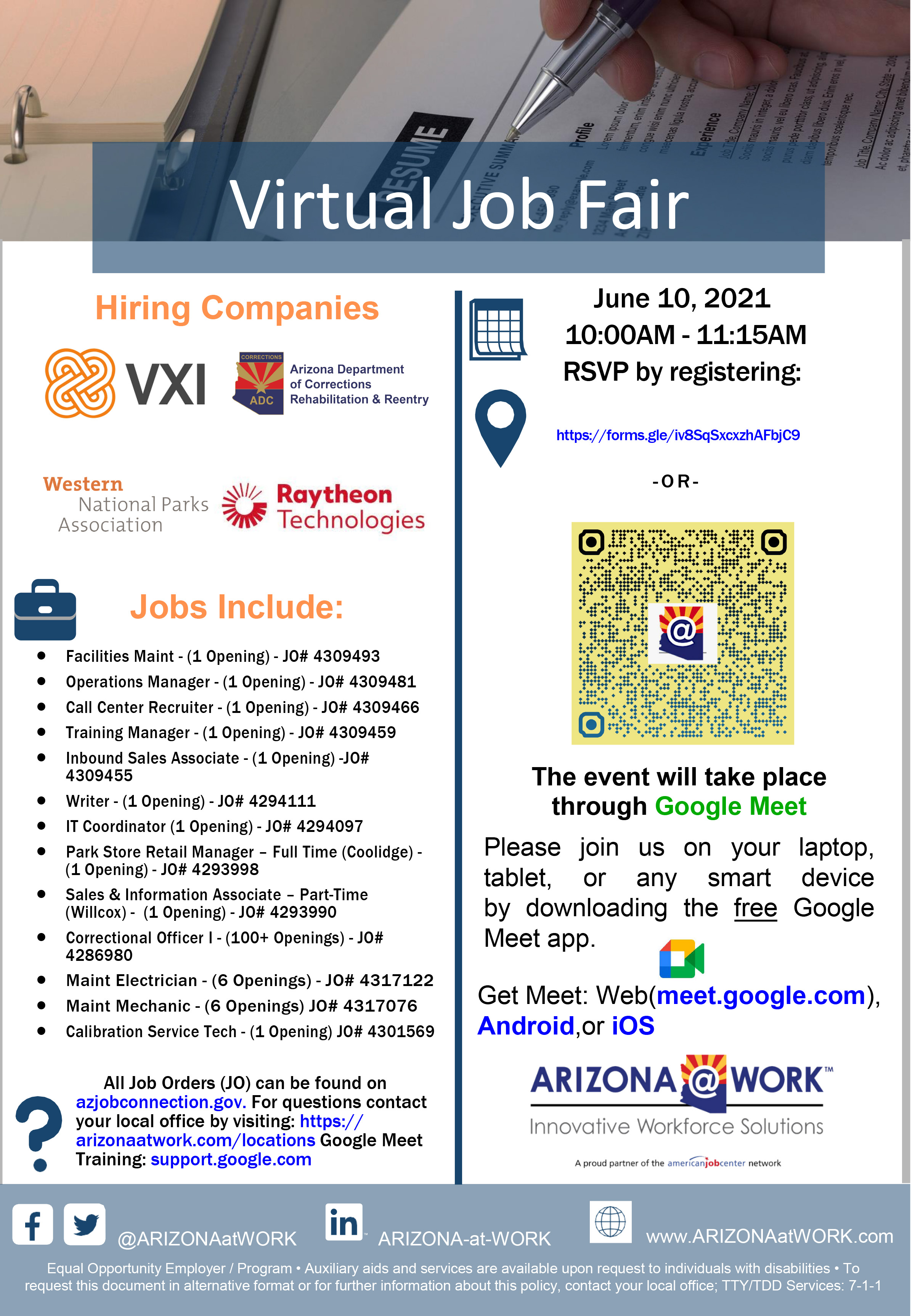 Flyer for southern hiring event