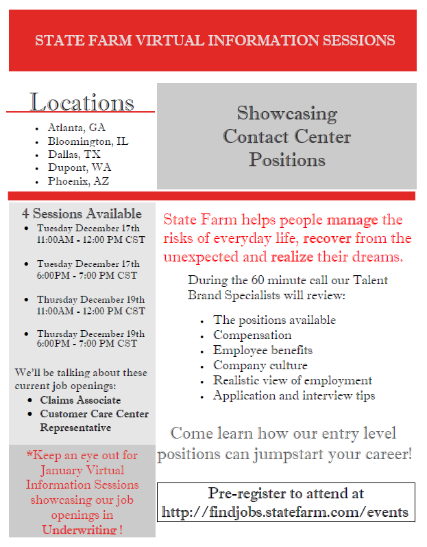State Farm Virtual Information Sessions