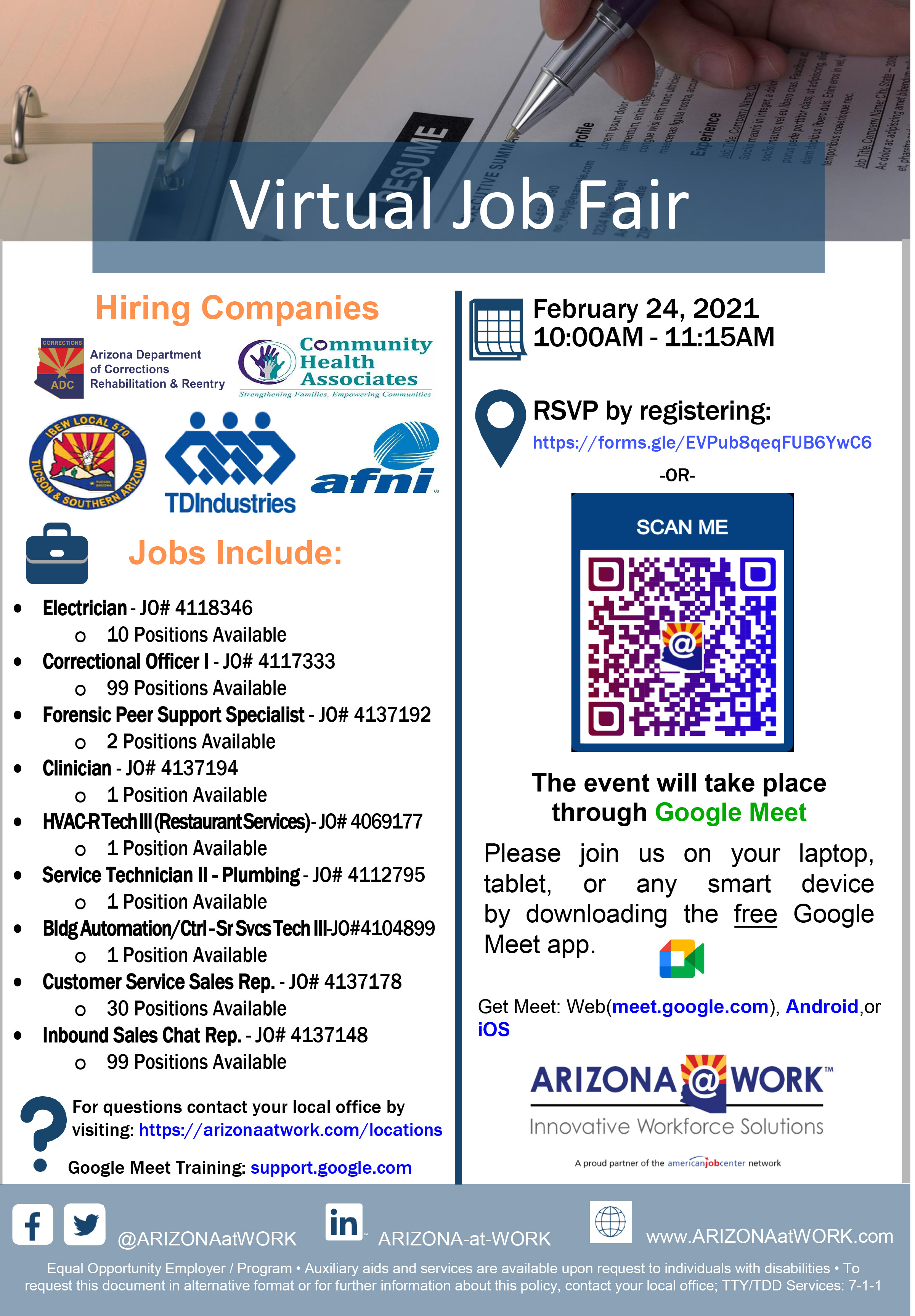 Virtual Hiring Event Flyer 02-24-21