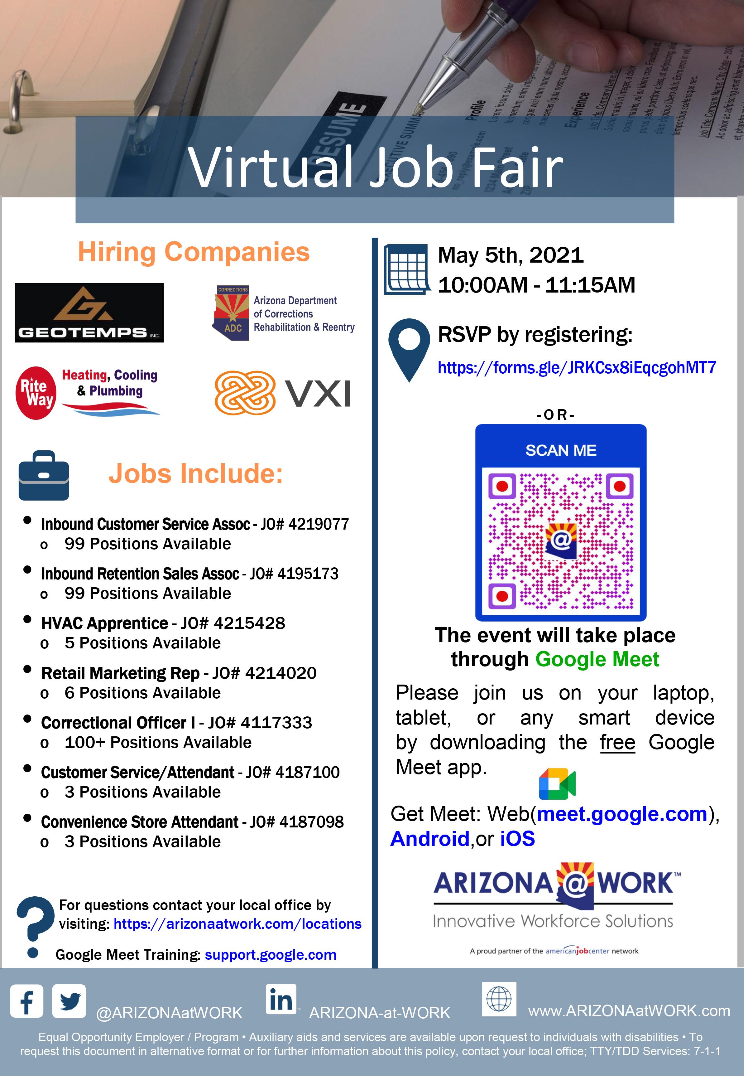 Virtual Hiring Event Flyer 05-05-2021