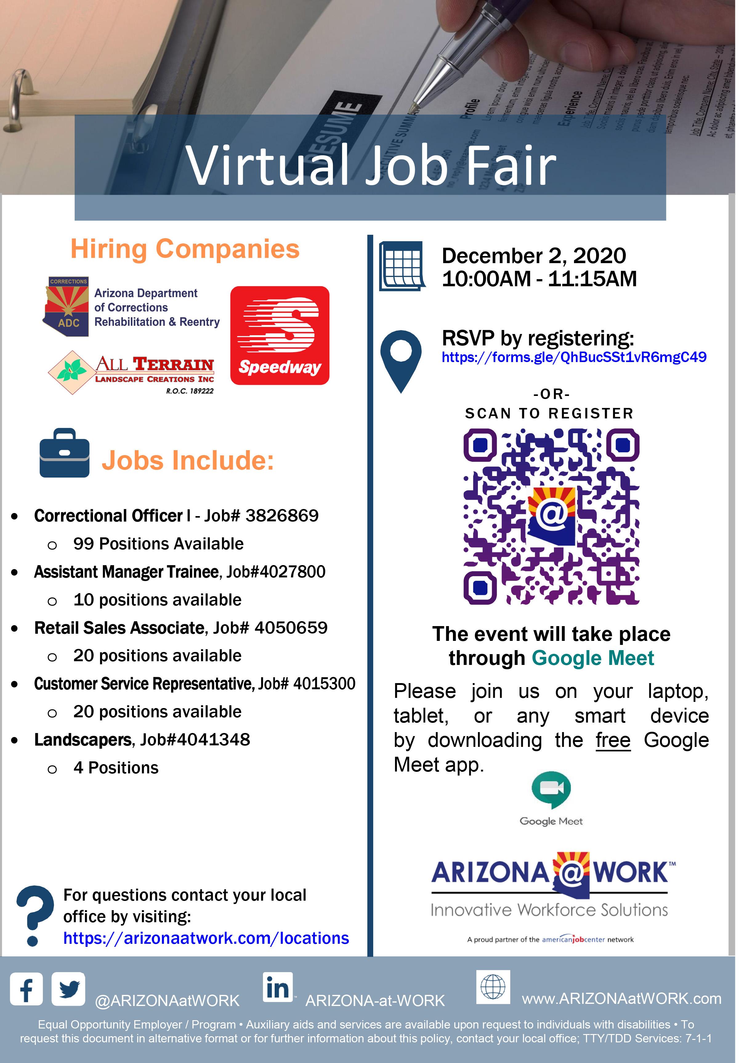 Virtual Hiring Event Flyer 12-2-2020