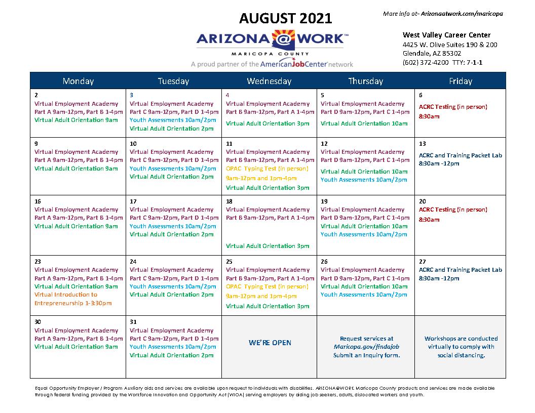 Maricopa County West Valley Center Calendar August 2021