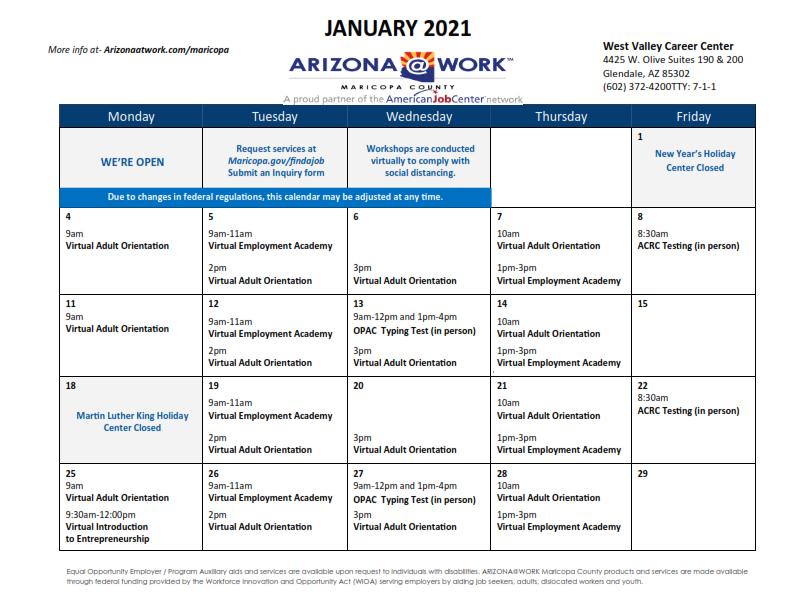 Maricopa County West Valley Center Calendar January 2021