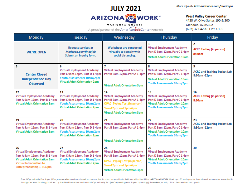 Maricopa County West Valley Center Calendar July 2021