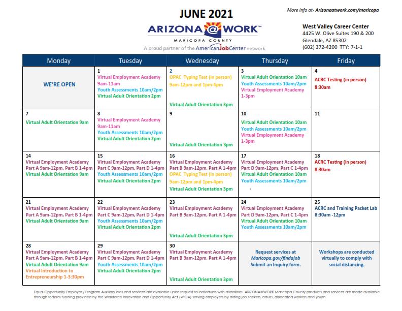 Maricopa County West Valley Center Calendar June 2021
