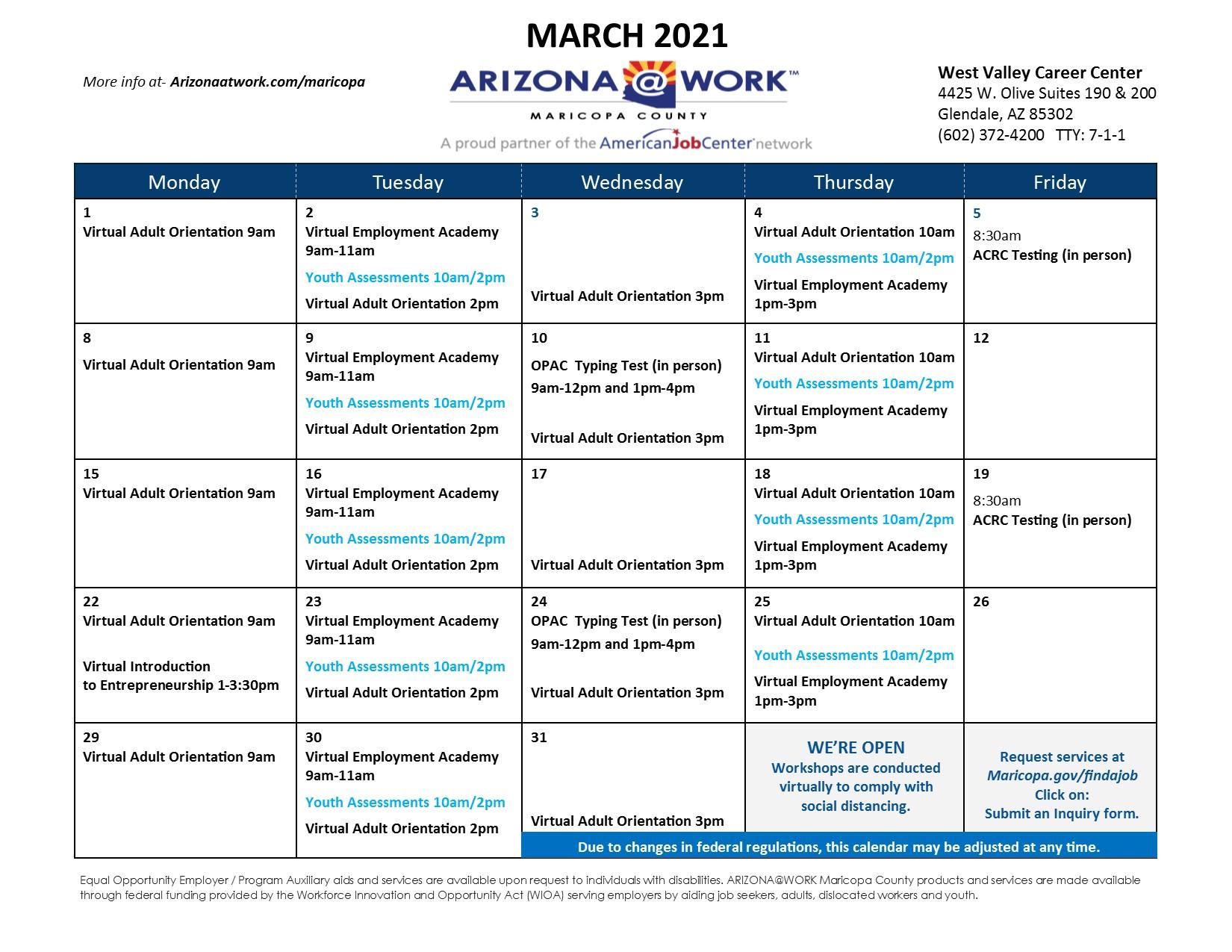 Maricopa County West Valley Center Calendar March 2021