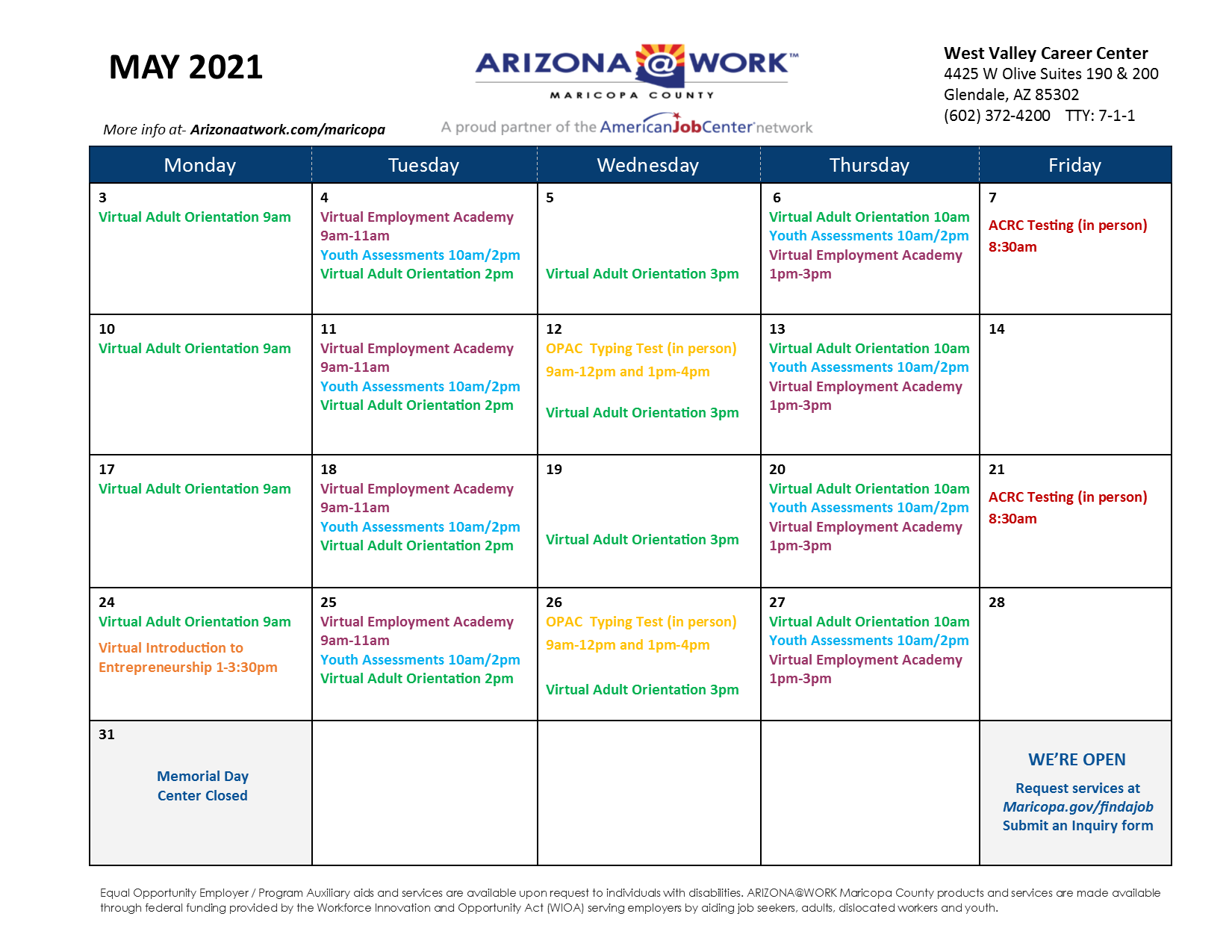 Maricopa County West Valley Center Calendar May 2021
