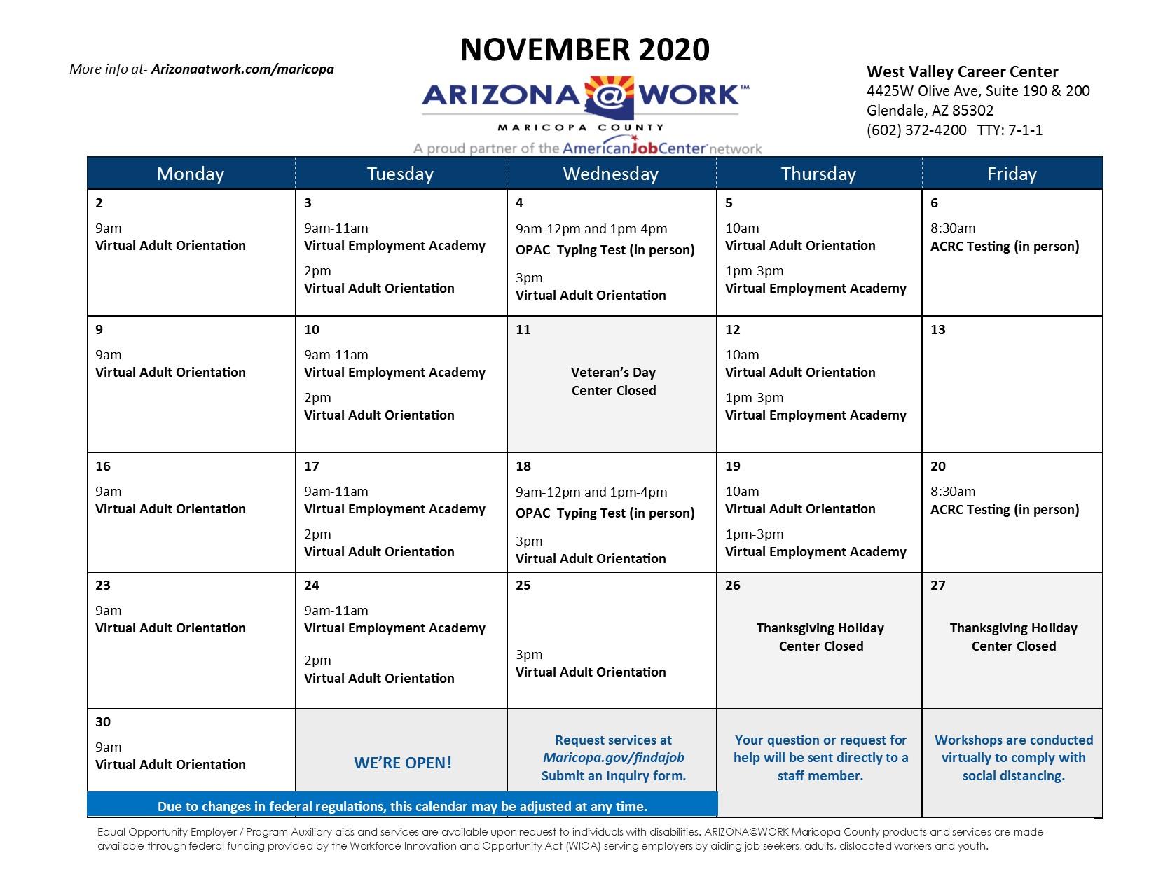 Maricopa County West Valley Center Calendar November 2020