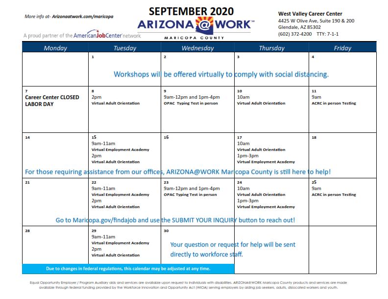 Maricopa County West Valley Center Calendar September 2020