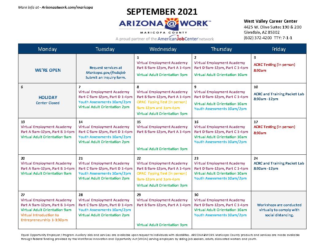Maricopa County West Valley Center Calendar September 2021