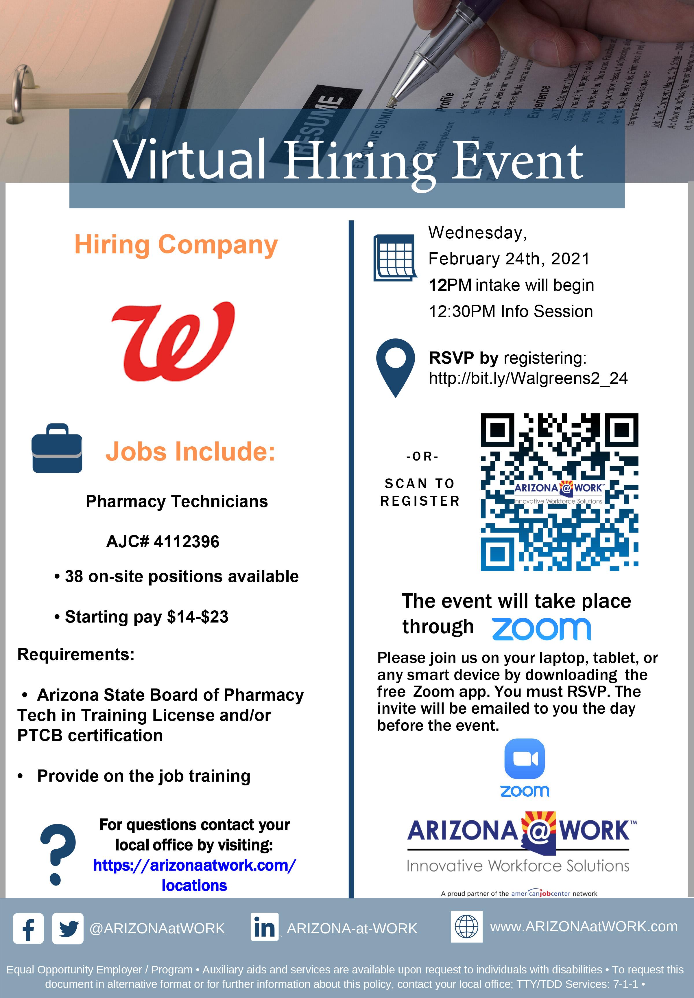 Walgreens Virtual Hiring Event 2-24-2021