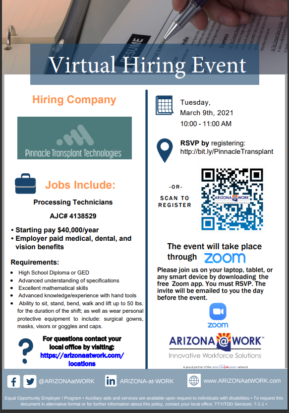 Pinnacle Transplant Hiring Event